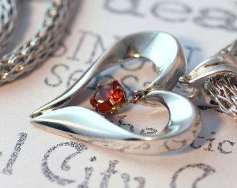 Sterling Silver Open Heart Necklace, Citrine Gemstone Silver Heart Necklace, Sterling Silver Heart Jewelry