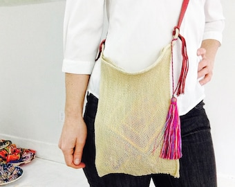 Very Fine Agave Woven Bag with Red Leather Strap and Tassel! Hand-Spun & Woven.  Chiapas, Mexico