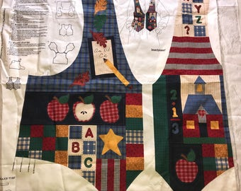 Vintage Dreamspinners Cranston Print Works BACK TO SCHOOL Fabric Panel