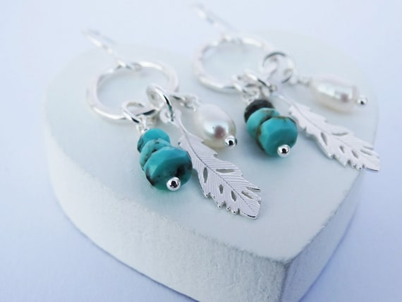 Silver Feather Earrings With Turquoise & Pearl - Sterling Silver