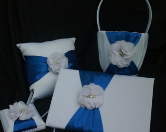 SALE-White and Royal Blue Flower Girl Basket and Pillow Set, Guest Book and Pen Set with Chiffon Flower-Custom Flower Colors