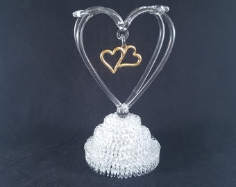 Double heart wedding cake topper.