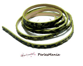 Approximately 1.15 meter faux leather Cheetah tone green KHAKI 5 by 2MM A3204