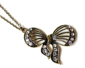 Bow ribbon pendant with clear crystals necklace LAST ONE