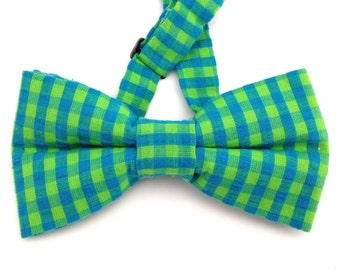 Perler Bead Bow Tie Gingham Pattern Blue Plaid Checkered