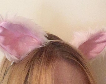 Light Baby Pink Glitter Furry Cosplay Cat Neko Wolf Fox Ears Hair Clips Headband Pastel Kawaii Halloween Costume Festival Fursuit Cute