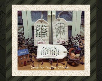 Willow Tag Collection-Primitive Stitchery-E-PATTERN by Primitive Stitches-Instant Download