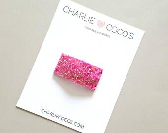 Bubblegum Pink Glitter Snap Hair Clip // Baby Girl Glitter Snap Hair Clip by charlie coco's