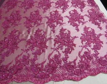 Fancy Floral Classy Beaded Sequins Fabric By The Yard Used For -Dress-Bridal-Nightgown-Prom [Fuchsia] FREE SHIPPING!!!