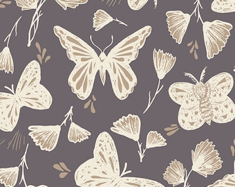 """Butterfly Fabric - Hello Ollie by Bonnie Christine for Art Gallery """"Sweetly Sings Glimmer"""". 100% premium ORGANIC cotton. HOL-46654"""