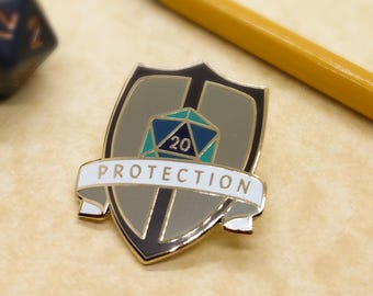 Protection Dungeons and Dragons Pin, Fighter Dnd Enamel Pin, d8 Pin, Tabletop RPG pin, Dungeon Master Gift, D&D pin, Dnd Dice pin