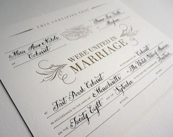 Letterpress Marriage Certificate with Calligraphy, Personalized Wedding Keepsake, Calligraphic Bird, Gold and White Wedding, Shower Gift