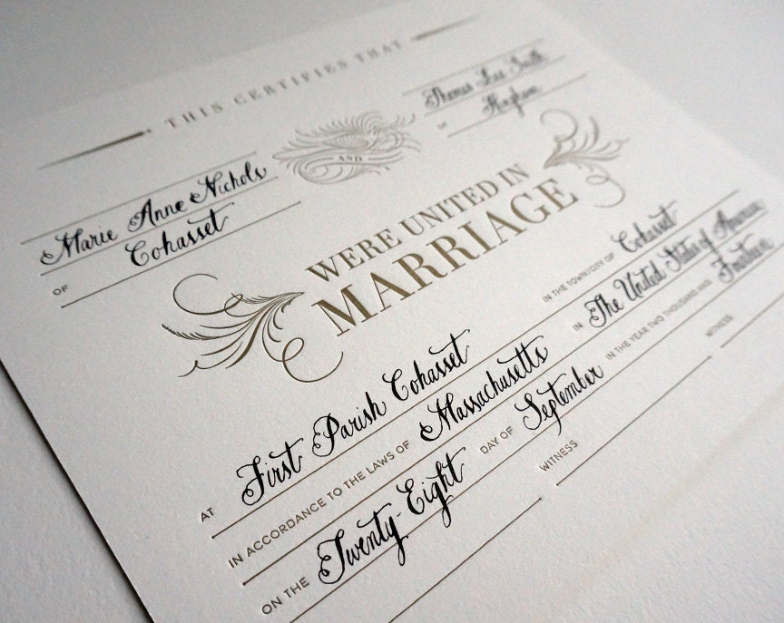 Letterpress Marriage Certificate With Calligraphy