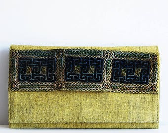 Clutch cotton silk vintage ethnic embroidery