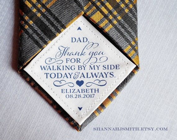 Bride Gift Father Of The Sayings: Thank You Dad Wedding Tie Patch Personalized Dad Gift