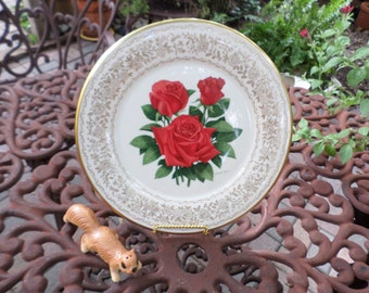 Vintage Limited Edition Gorham-Firelight-Red Rose-Collectors Cabinet/Dinner Plate/Display