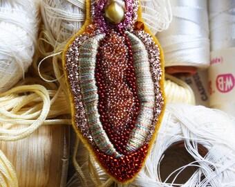 Vulva Goldwork Hand Embroidered Patch
