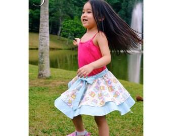 Isla Skirt for Girls 6M-12Y PDF Pattern & Instructions - twirly, multiple options, easy sew,
