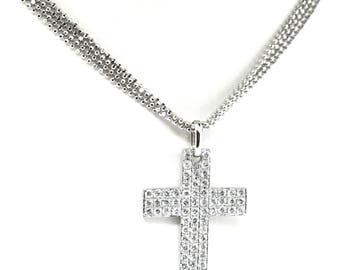 14k White gold And Pave Diamond Cross, And 14k White Gold Multi Strand Chain