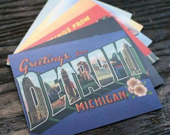 Box Set of Six Greetings From Detroit Cards and Envelopes