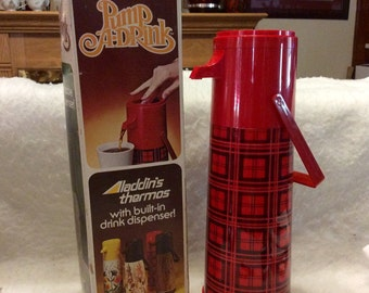 Vintage Aladdin Pump a Drink hot or cold vacuum thermos pump.