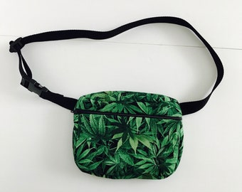 Handmade festival style bellybag/fanny pack with a vibrant cannabis print