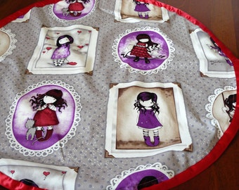 Play and Store Mat - beautiful little girls in red and purple - red trim