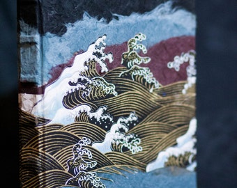 Japanese Wave Journal - Gold, Black, and Blue Book
