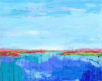 Abstract Marsh : 'Inlet in Color' fine art giclee of original acrylic painting
