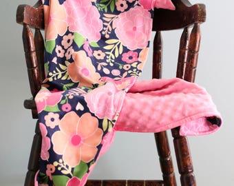 Minky Blanket, Baby Girl Blanket in Navy Pink Peach Flower Minky, Pink Dimple Dot Minky, Stroller Blanket, Baby Blanket, Modern Baby Girl