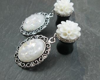 "Dangle Plugs - 00g 10mm - 1/2"" 12mm - Wedding Plugs - Flower Gauges - Bridal Gauges - Prom Plugs - Plug Earrings"