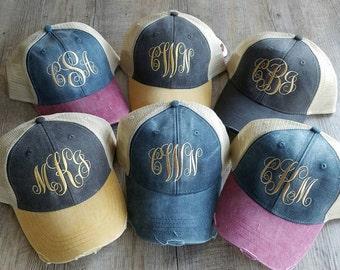 Monogrammed Trucker Hat, Monogrammed Distressed Trucker Cap, Personalized Trucker Cap, Distressed Trucker Hat, Distressed Cap