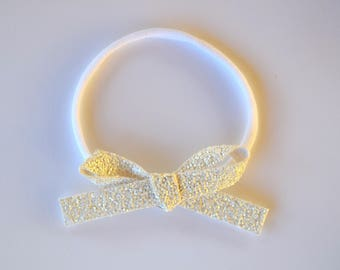 White LARGE Matte Glitter Bow OSFA Adorable for Newborn Baby Little Girl Child Adult Holiday Fall Baptism Blessing Headwrap Bow