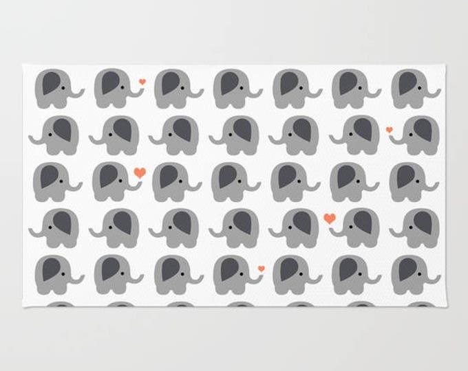 Elephant Floor Rug - Door Rug - Orange Hearts - Bathroom Rug  - Original Art - Throw Rug - Nursery Rug - Made to Order