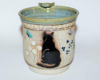 Handmade Pottery Black Cat Mug