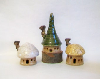 Fairy Garden Houses - Garden Houses - Set of 3 - New Houses out of the Kiln  - Actual Set -  Ready to Ship -- Handmade on Potters Wheel