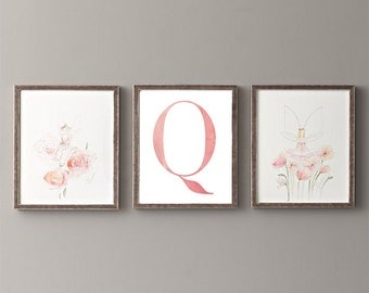 Letter Q | Nursery Print | Nursery Art | Alphabet | Instant Download | Digital Print | Wall Art | Baby Girl | Initials | Pink | Watercolor