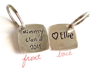 Double sided - Graduation Gift - Your hand written message - Solid Silver keychain- made to order