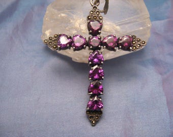 Rare Late Edwardian Large Silver Old Cross Pendant Heart Shaped Amethyst Ten Cabs - c.1920