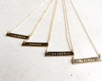 Personalized Bar necklace, 14k gold filled