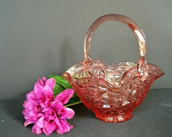 Vintage Pink Glass Basket Candy Dish