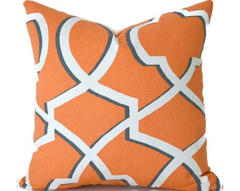Orange Pillow Covers ANY SIZE Decorative Pillow Cover Orange Pillow Chevron Pillow Premier Prints Morrow Orange