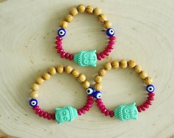 Buddha Bracelet - Evil eye Lucky Bracelet - Gemstone Beaded Mala Bracelet - Bohemian - 1 piece