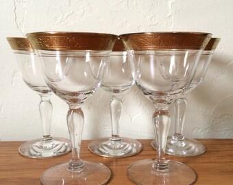 Vintage Gold Encrusted Etched Rim Cordial Glasses Set of 5 Tiffin Minton Glastonbury Liqueur Aperitif Sherry