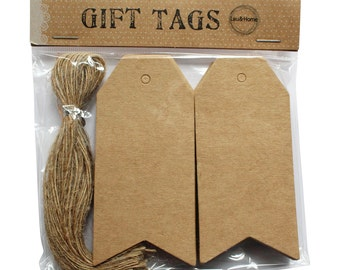 Kraft Blank Price Hang Tag / Label Pack of 50pc with Strings