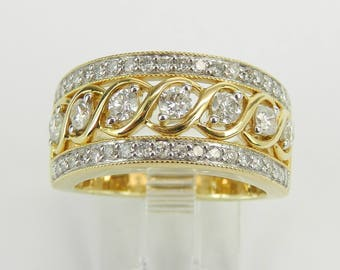 1.00 ct Diamond Anniversary Band Wedding Ring Yellow Gold Size 7 Stackable Ring