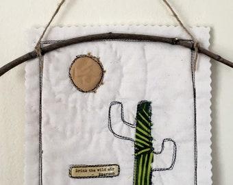 Mini Cactus Quilt of Scraps and Thread sketching