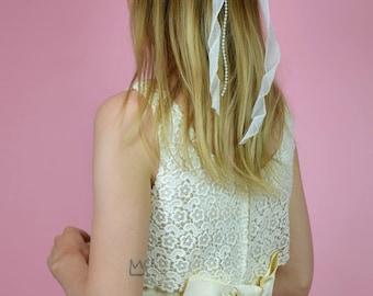 Vintage Ivory Floral & Beaded WEDDING Hair Comb