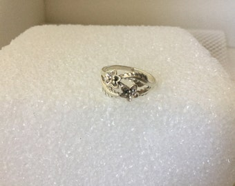 Ring, Sterling Silver, Size 7 , Sterling Flower and Leaf Ring, Vintage Ring
