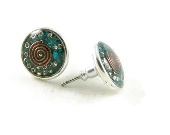 Orgone Energy Post Earrings in Antiqued Silver Circles with Turquoise Gemstone - Simple Earrings - Orgone Energy Jewelry - Artisan Jewelry